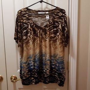 Liz Claiborne brown blouse sz XL